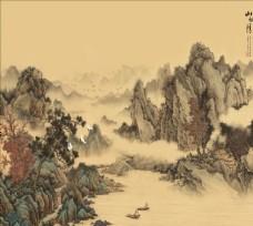 新中式复古山水电视背景墙