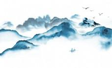 新中式蓝色水墨电视背景墙