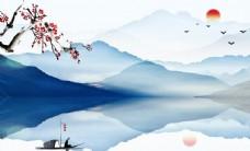 新中式意境山水电视背景墙