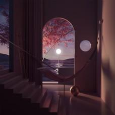 场景搭建-夜幕夕阳西下