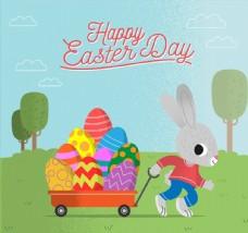 卡通拉彩蛋车的兔子