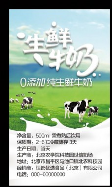 牛奶纯鲜牛奶海报生鲜牛奶宣传单