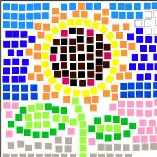 方格子向日葵创意矢量图形