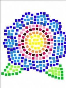 方格子 花 创意矢量图形 儿