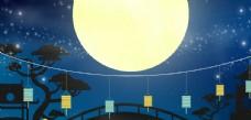 月亮鹊桥玉兔灯笼中秋插画中国风