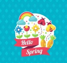 彩色春季花卉和蜜蜂标签