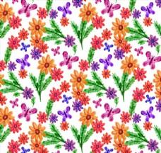 水彩绘蝴蝶和花卉无缝背景
