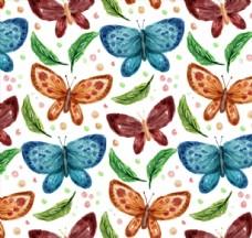 水彩绘蝴蝶和叶子无缝背景