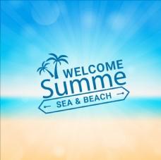 夏季海报沙滩背景