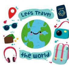 8款可爱环球旅行元素矢量图