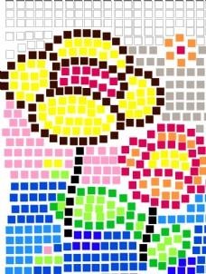 方格子花创意矢量图形