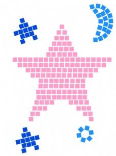 方格子五角星创意矢量图形