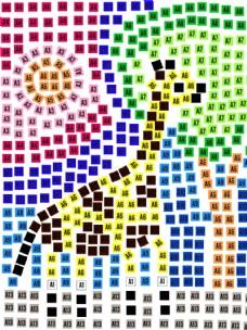 方格子梅花鹿 创意矢量图形 儿