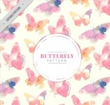 水彩绘蝴蝶无缝背景