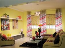 黄色红色软装家居空间