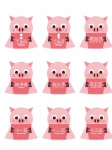 学校猪猪门牌vi导视门牌标牌体