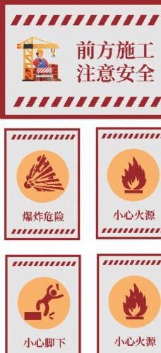 路面道路工地施工禁止警告牌