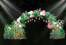 绿色  婚礼  生日会拱门