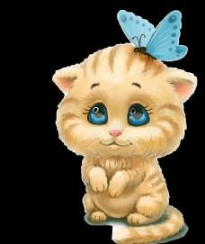 蝴蝶可愛的貓頭