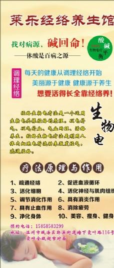 莱乐经络养生馆展架海报