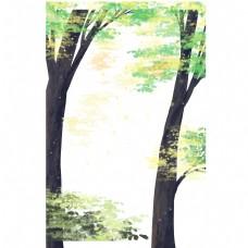 春天里的绿色树木免抠图