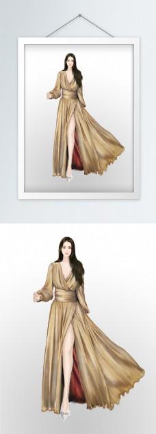 服装设计效果图金色亮丝飘逸长裙