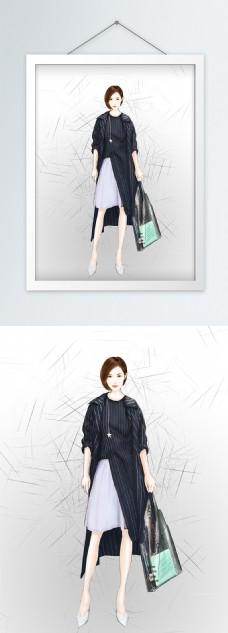 时尚美女插画服装设计效果图