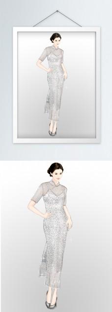 服装效果图银色蕾丝闪亮旗袍