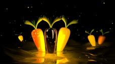 C4DAE3D水波纹夜光胡萝卜动画素材