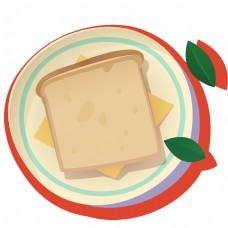 手绘早餐面包片