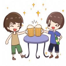 夏日和伙伴喝啤酒