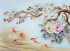 新中式复古花卉富贵有余牡丹鱼四