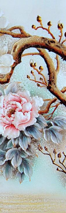中式复古花卉富贵有余牡丹鱼四联