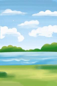 蓝天白云草地唯美风景图