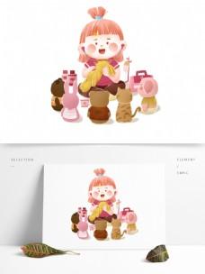 卡通可爱儿童节小玩偶和女孩设计