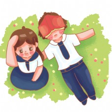 躺在草坪上的校服男生女生