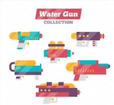 6款彩色水枪玩具侧面