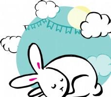 黑白手绘中秋节白兔矢量素材