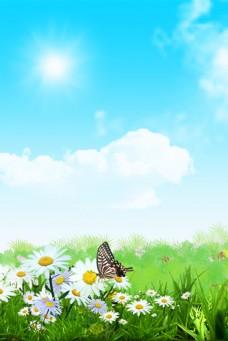 蓝天白云草地唯美背景图片