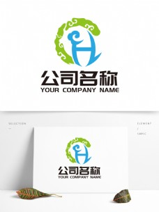 广告业LOGO字母H华彩云纹