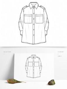加肥衬衫款式图效果元素