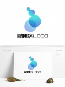 渐变蓝色商业服务logo标志图形创意设计