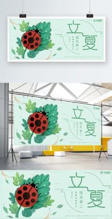 插画绿色调可爱瓢虫立夏节气主题展板