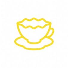 黄色咖啡杯图标免扣图