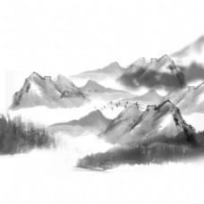 灰色山峰远山元素