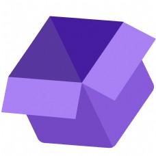 紫色的卡通箱子