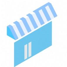 蓝色的卡通购物商店