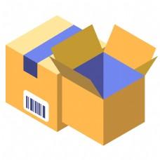 两个卡通货物箱子