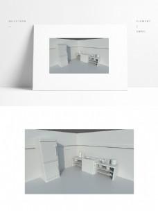 简约厨房小场景模型图片