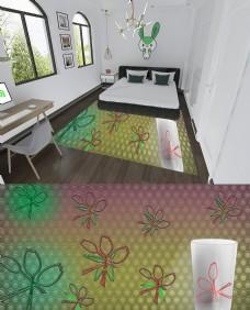 郁金香红绿点杯上地毯